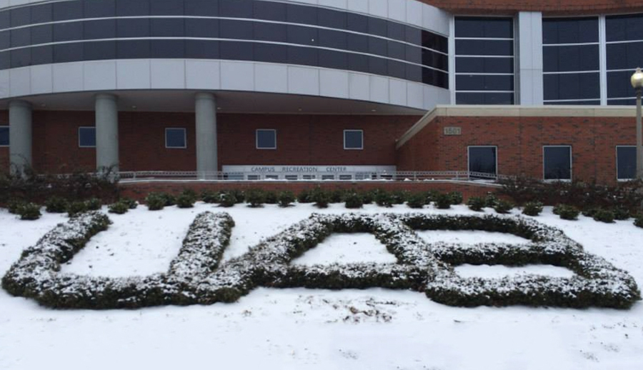 UAB Recreation Center covered in snow