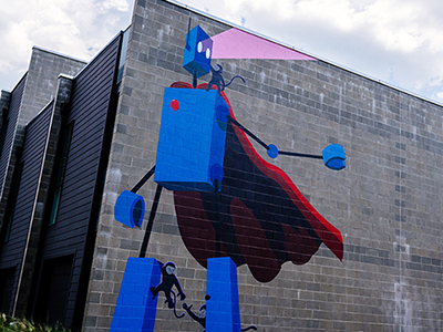 Robot with Monkeys Mural created by Birmingham artist, John Lytle Wilson on Morris Avenue, April 2020.