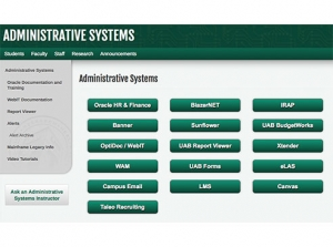 Administrative Systems page is interactive