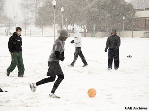 Snowpocalypse serves up a snowy soccer match