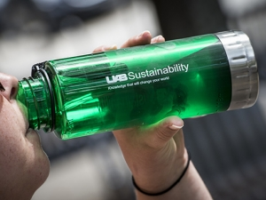Water bottles spread sustainability message