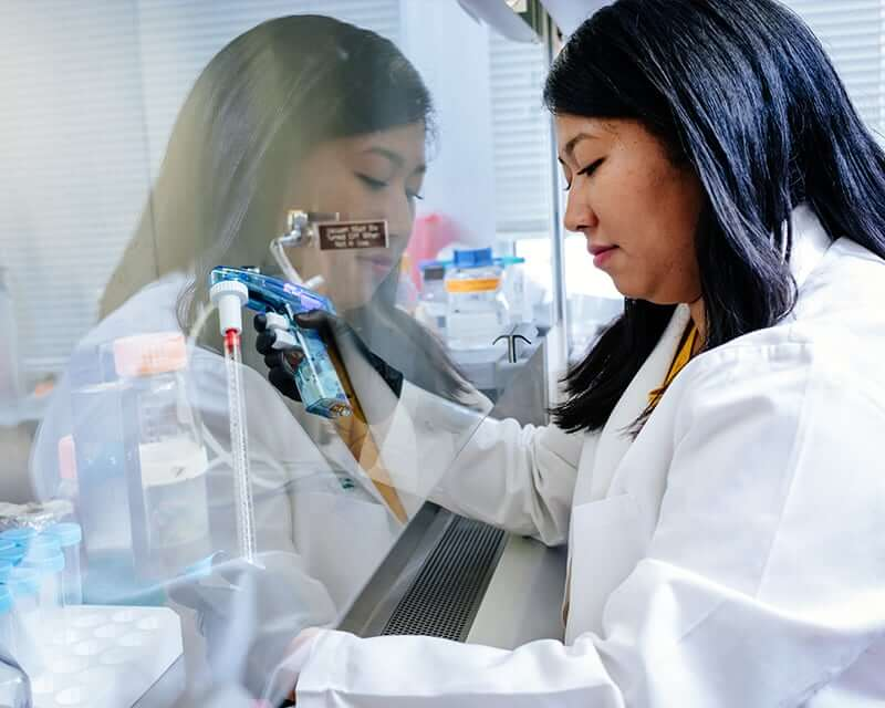 Researcher working at a lab