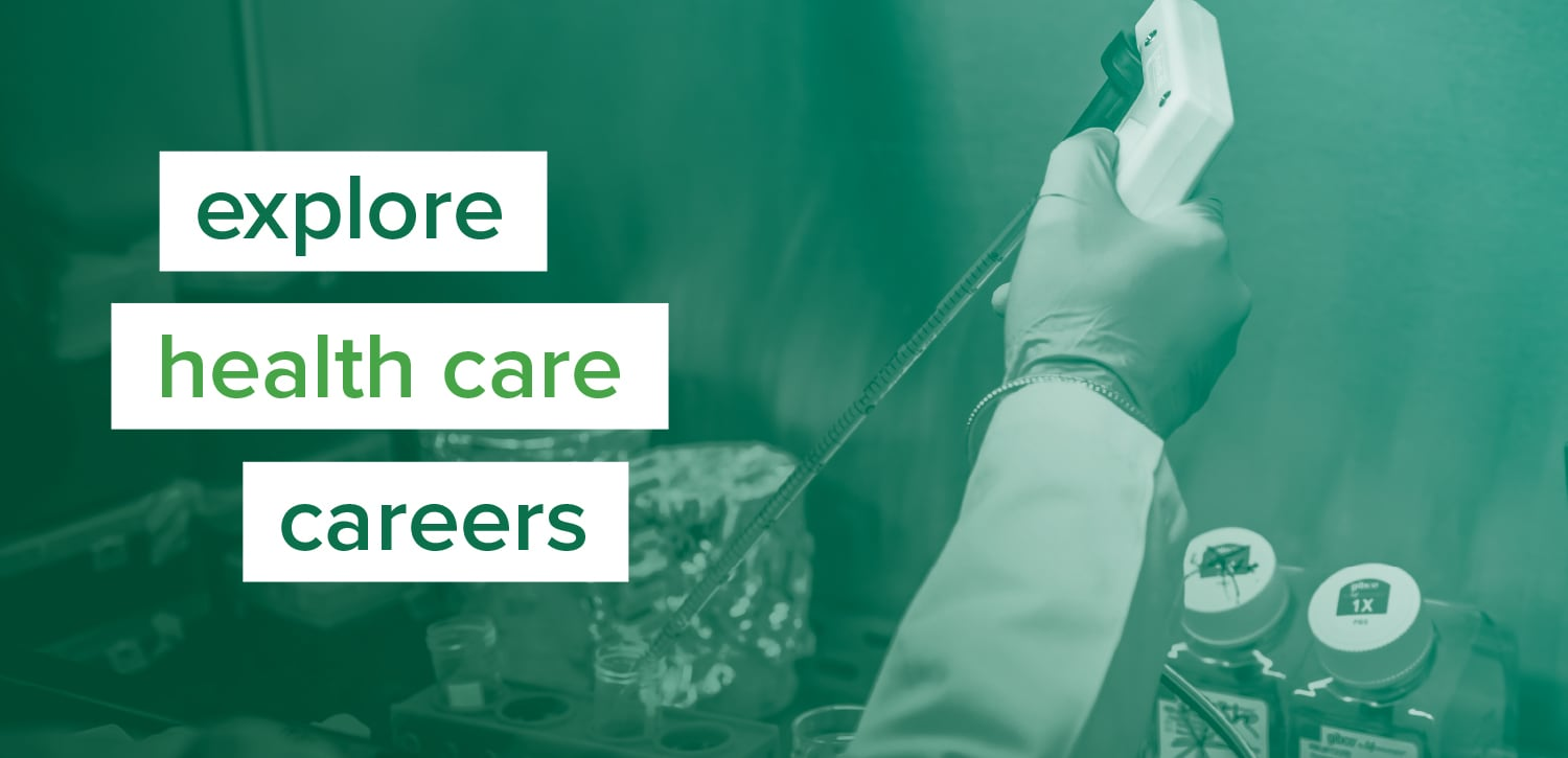 Explore healthcare careers text over green background.