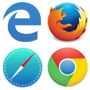 image of the four major browser logos