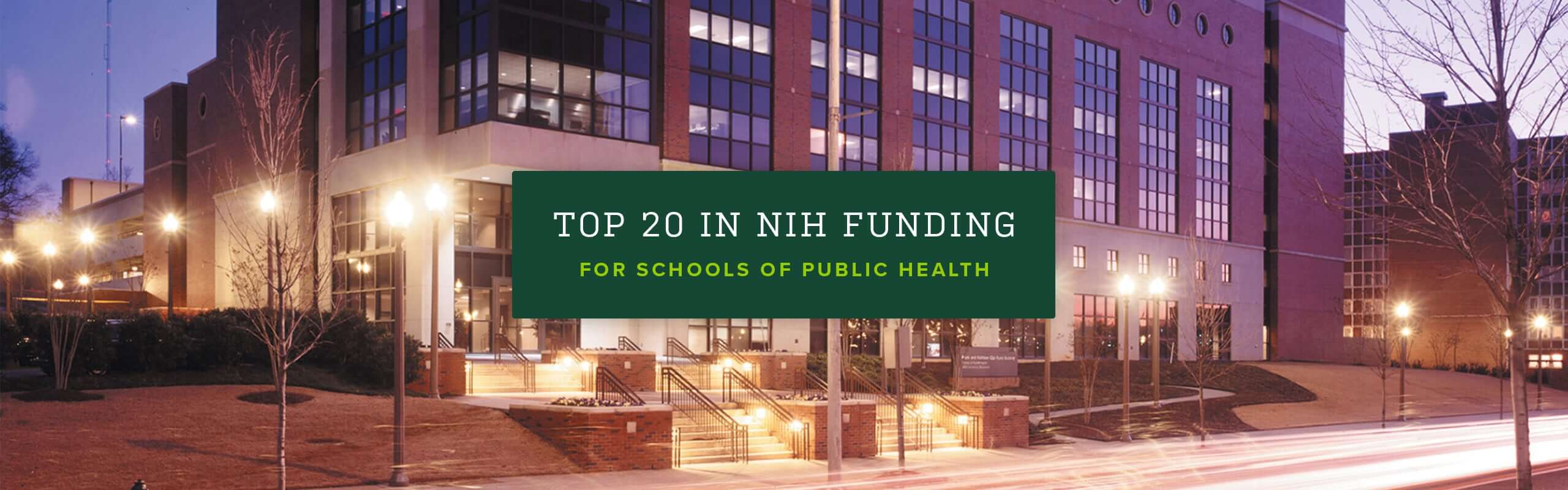 Top 20 in NIH funding for schools of public health.