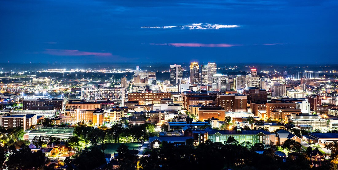 The Birmingham skyline at night.