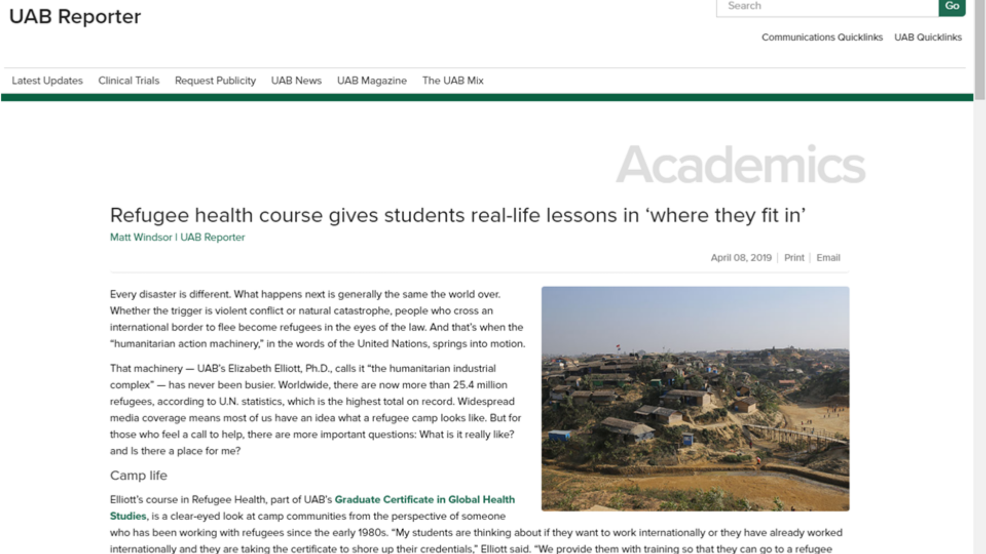 Refugee Health GHS Course Featured in UAB Reporter