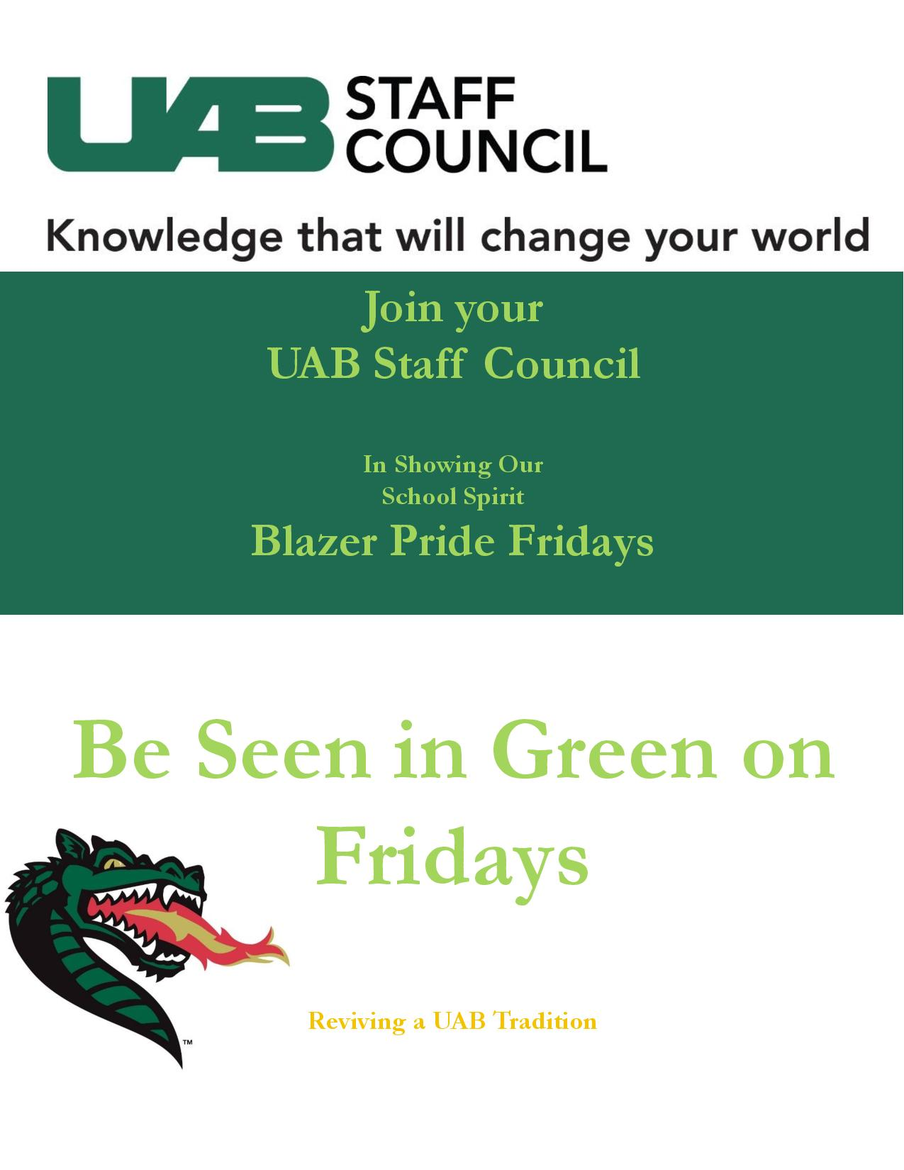 Staff Council - Be Seen in Green - Blaze