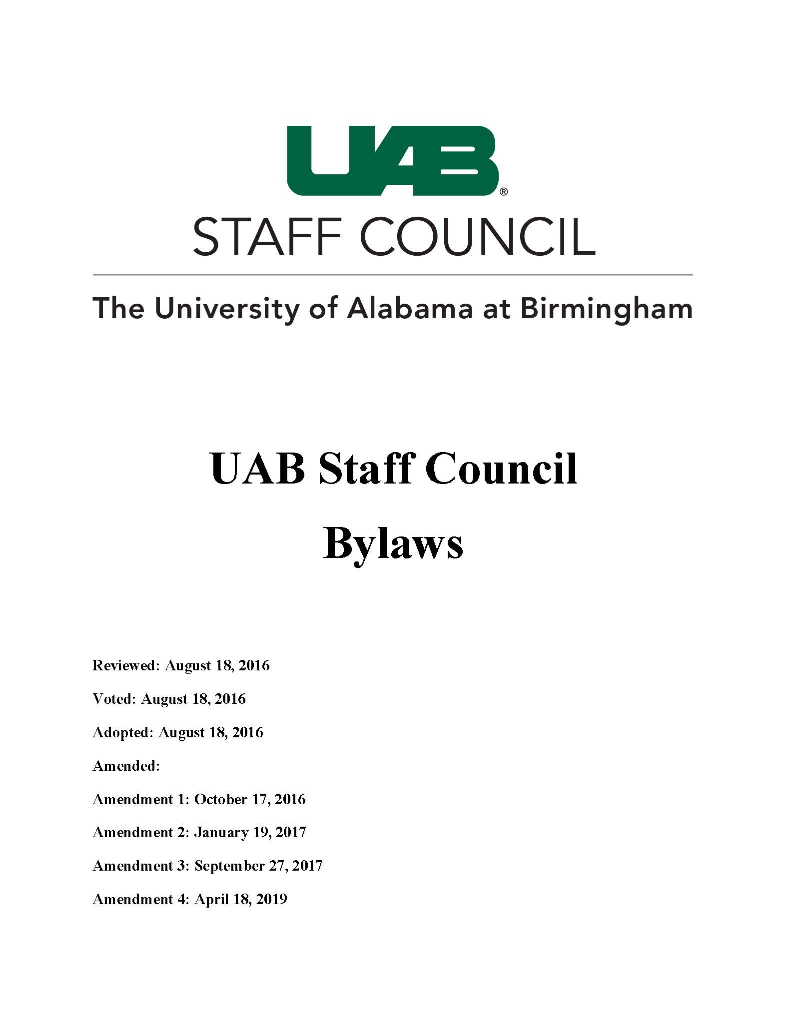 UAB Staff Council Bylaws Amendment 4 FINAL Page 01