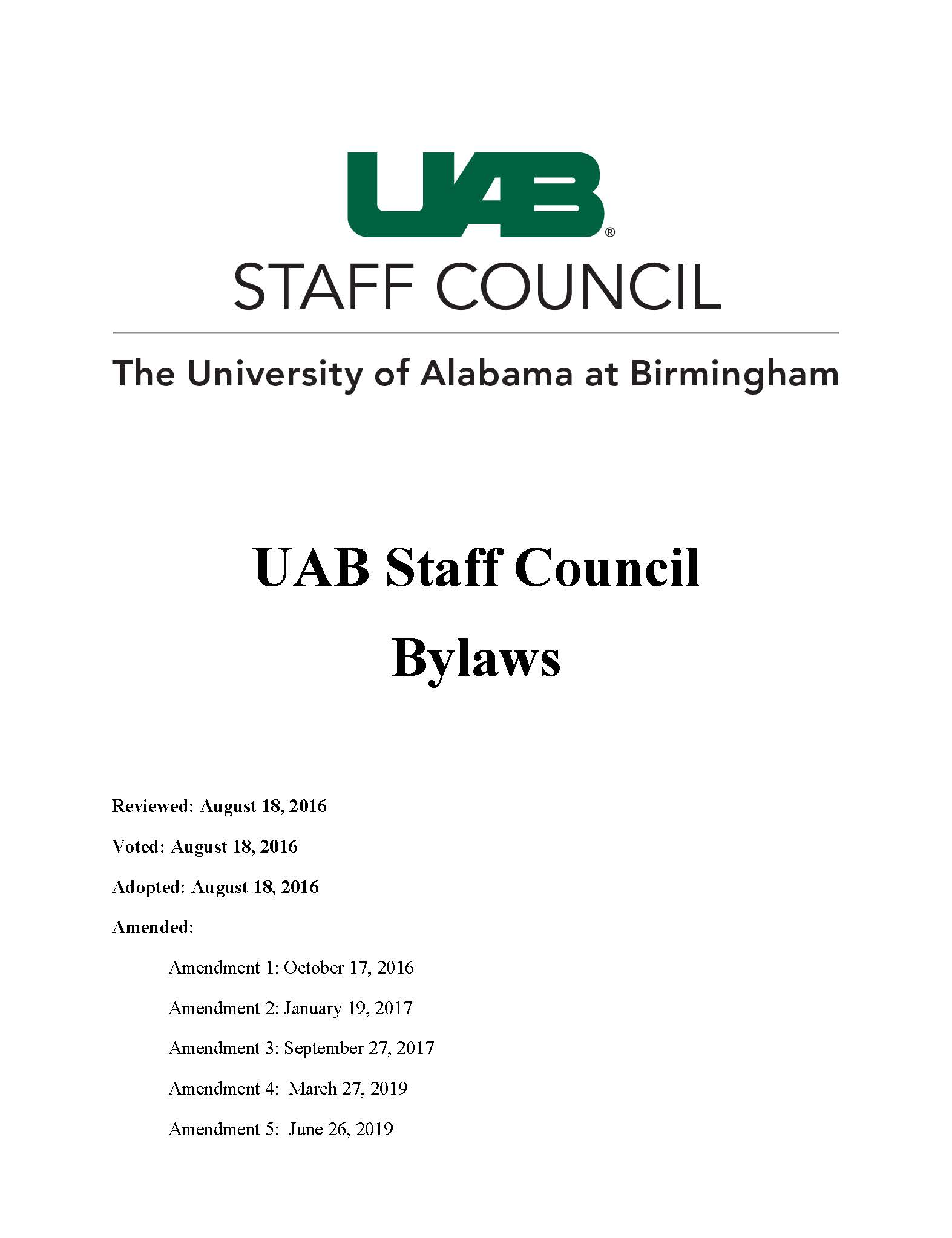 UAB Staff Council Bylaws Amendment 5 Final Page 01