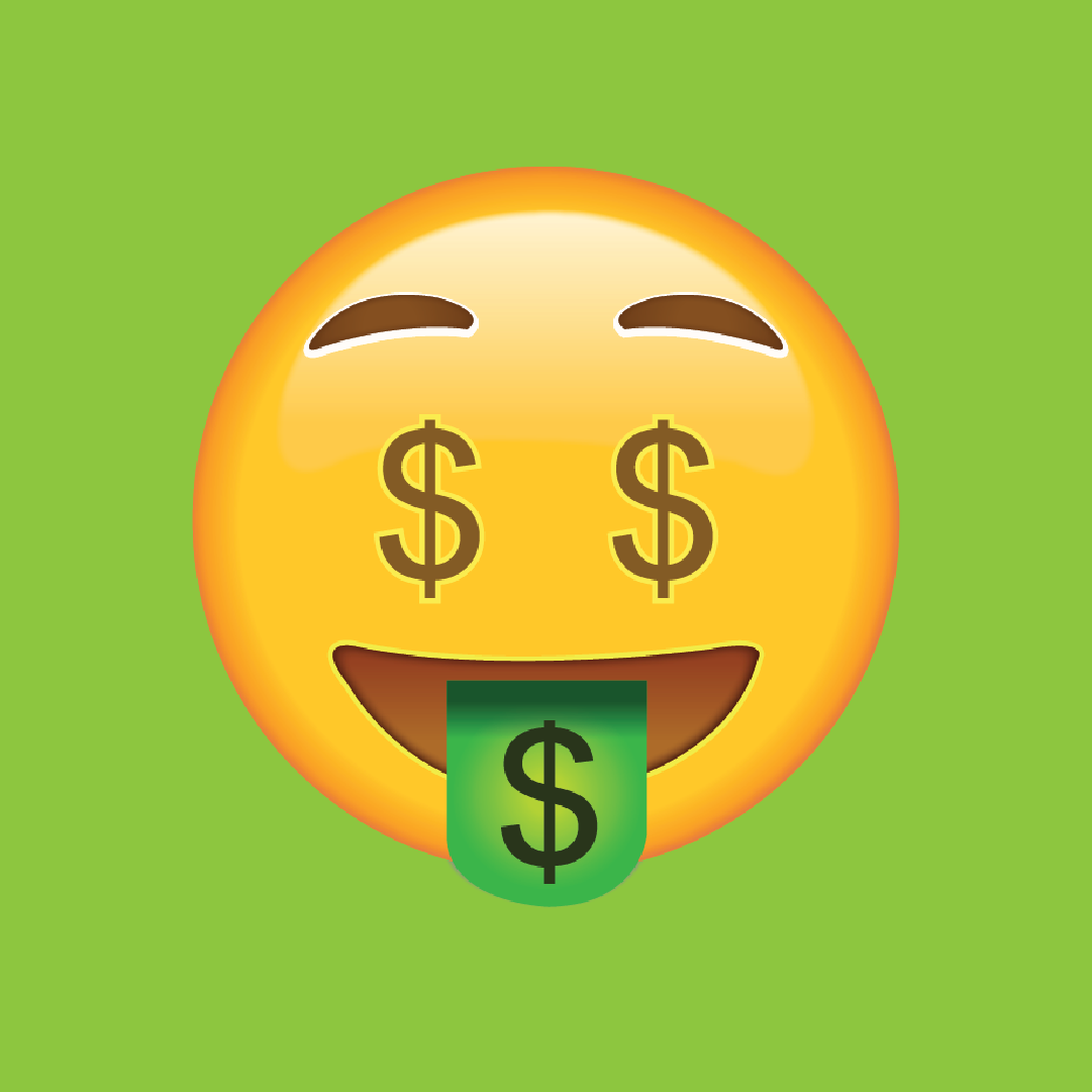 Oct 15 Vaxxed and Back grand prize giveaway graphic: cash eyes and smiling with cash tongue emoji