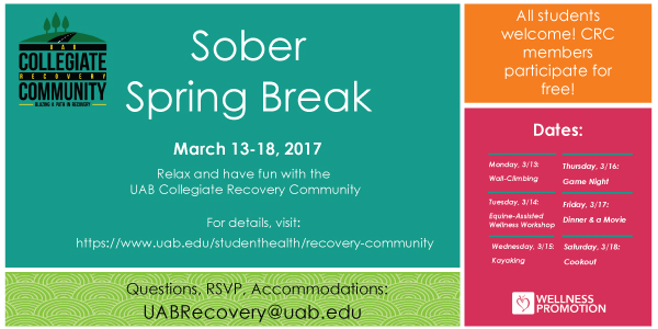 The Collegiate Recovery Community is hosting Sober Spring Break March ...