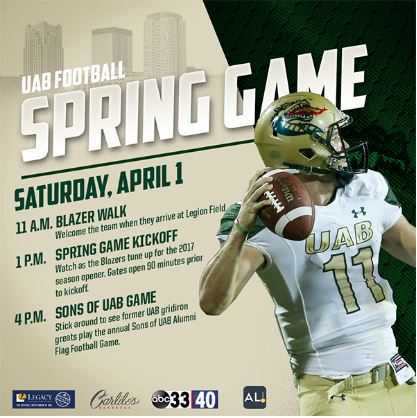 UAB Football Spring Game kicks off April 1