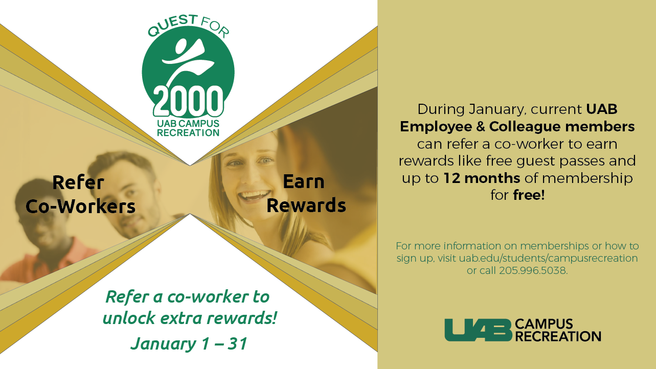 Refer a coworker to unlock member rewards at the Campus Rec Center in January