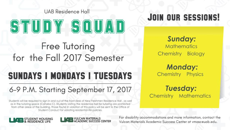 Residence Hall tutoring sessions