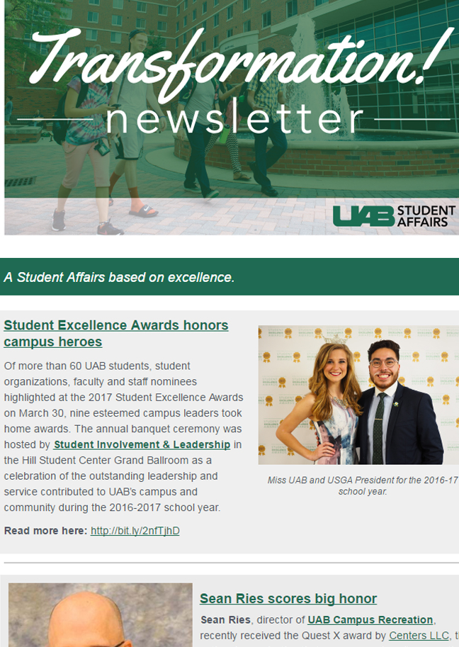 April 2017 Student Affairs Newsletter