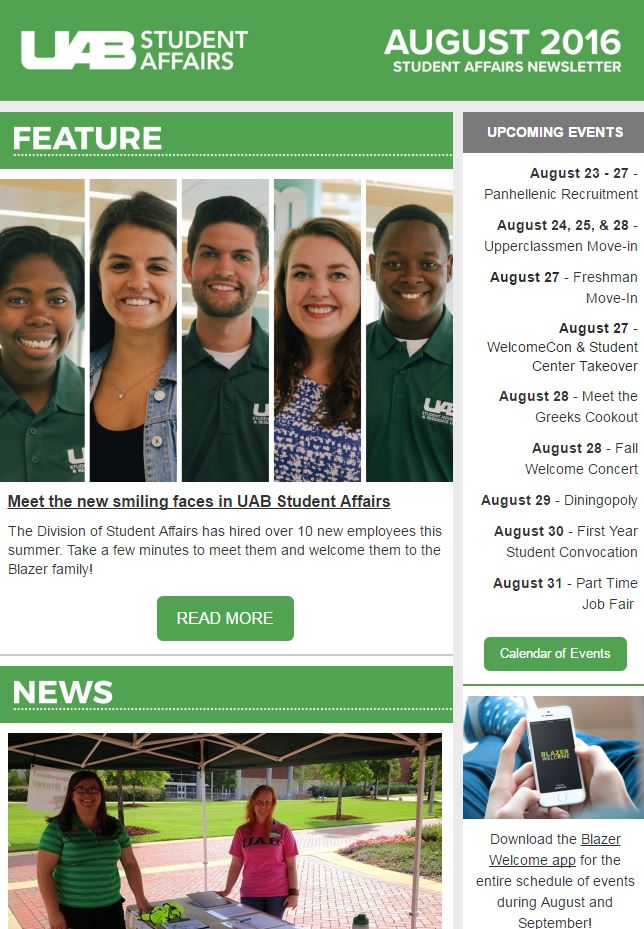 August 2016 Student Affairs Newsletter