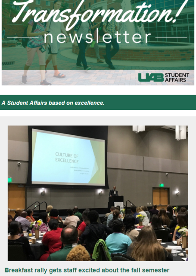 August 2017 Student Affairs Newsletter
