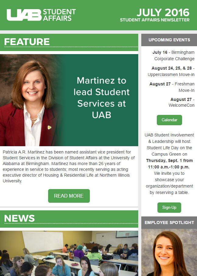 July 2016 Student Affairs Newsletter