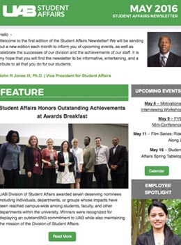 May 2016 Student Affairs Newsletter