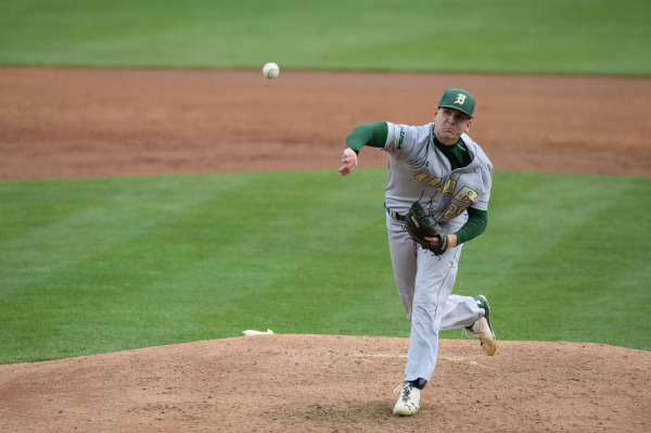 Auston Thomas pitches the ball. Photo from UABsports.com