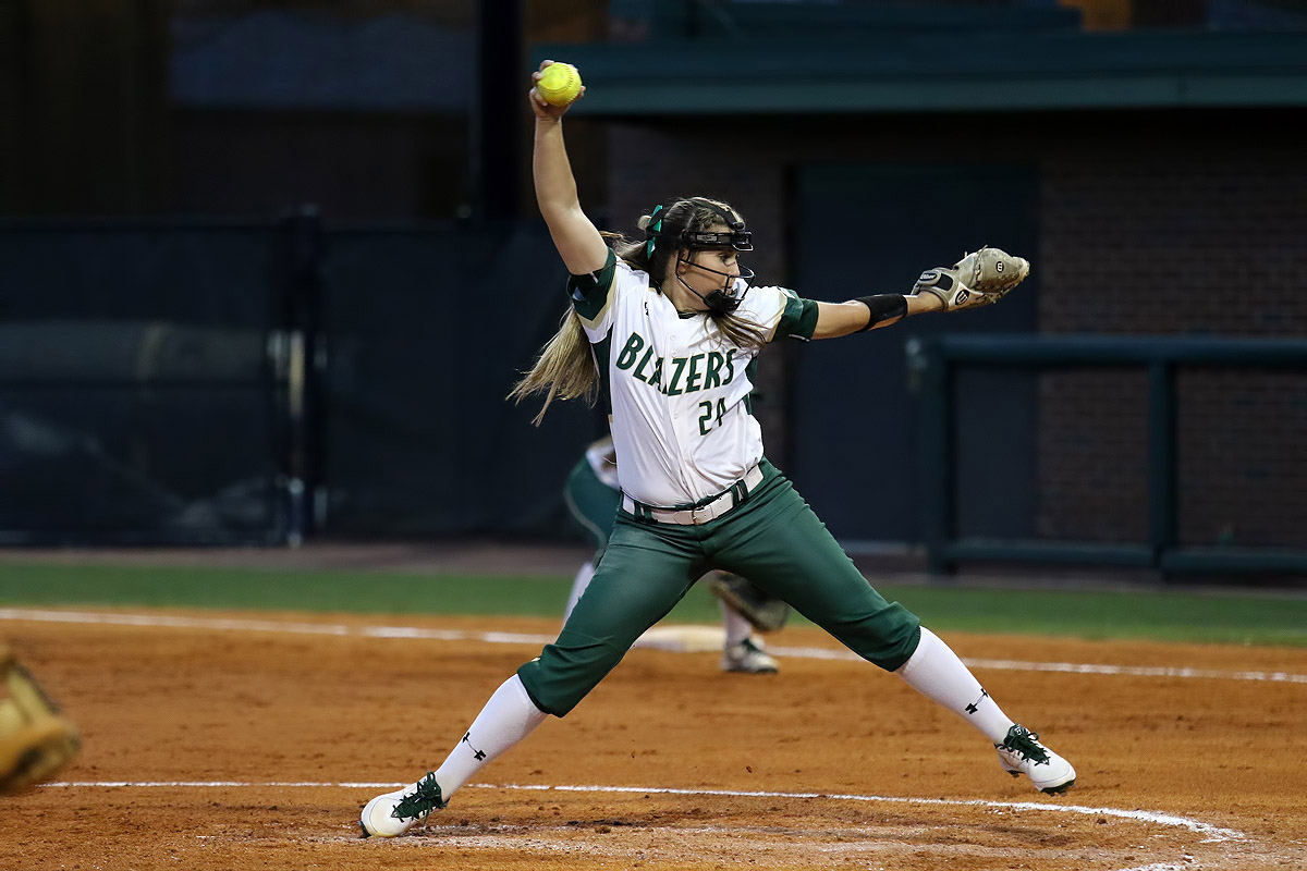 Senior right-handed pitcher Cara Goodwin winds up to deliver a pitch for the UAB Softball team. Photo by Michael Wade