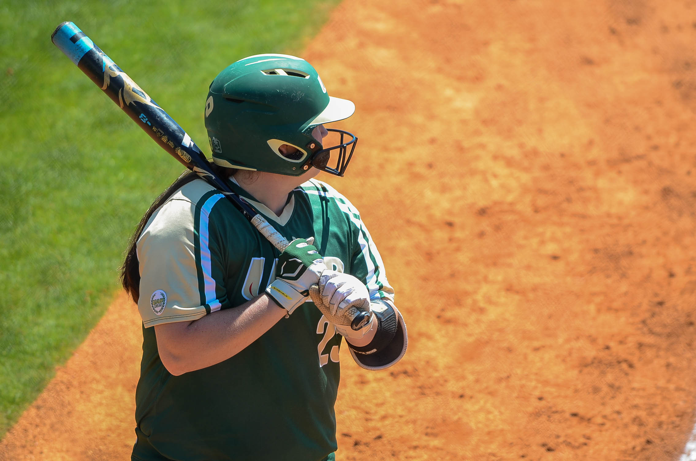Senior designated runner Mary Warren up to bat. Photo by Ian Keel/Photo Editor