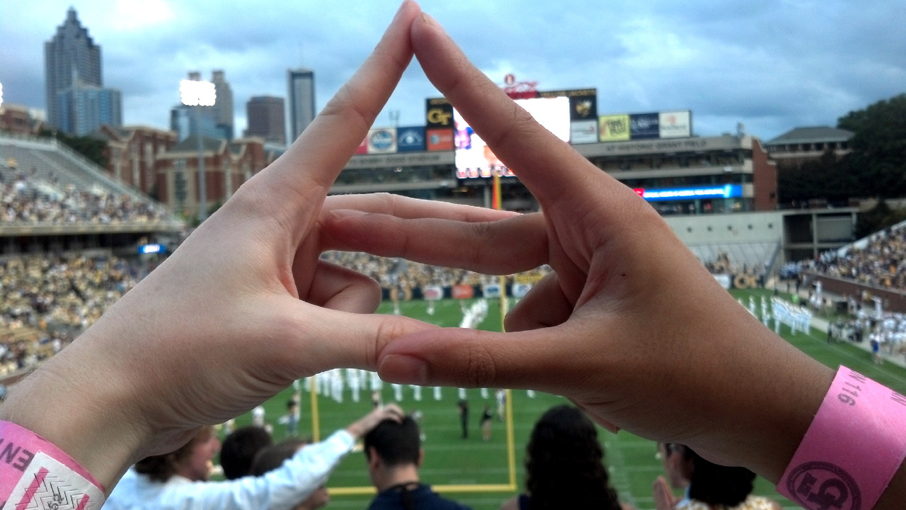 The Alpha Gamma Delta hand-sign. Photo courtesy of UAB's Alpha Gamma Delta chapter.