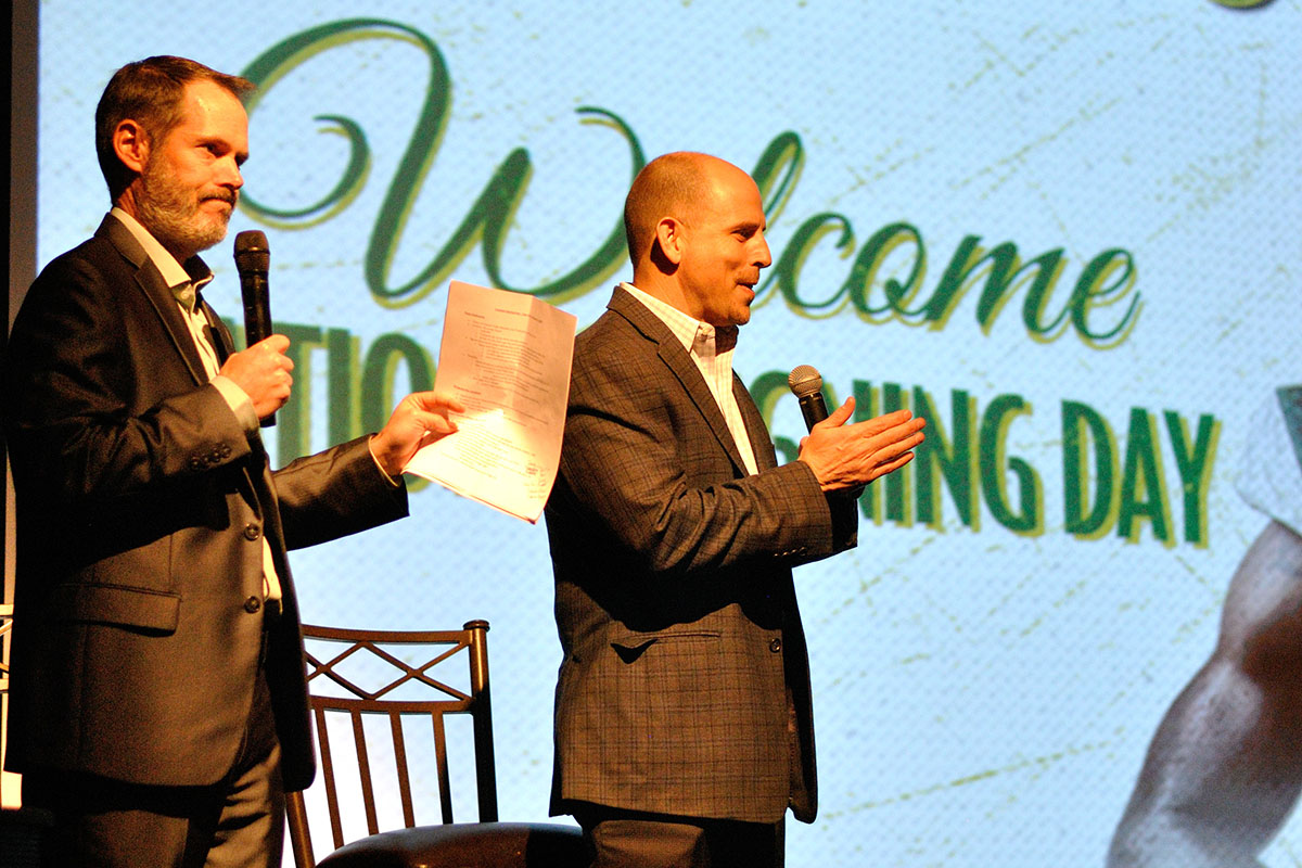 UAB Football Coach Bill Clark speaks at Signing Day. (Photo by Angela Hollowell).