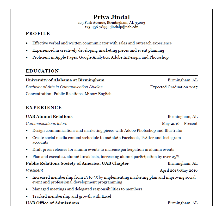 Sample Resumes Students Career Center Uab