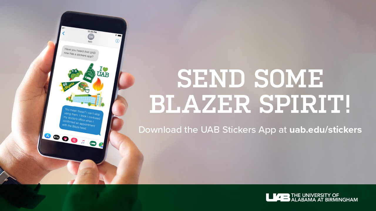 Send some Blazer spirit with the UAB Stickers app