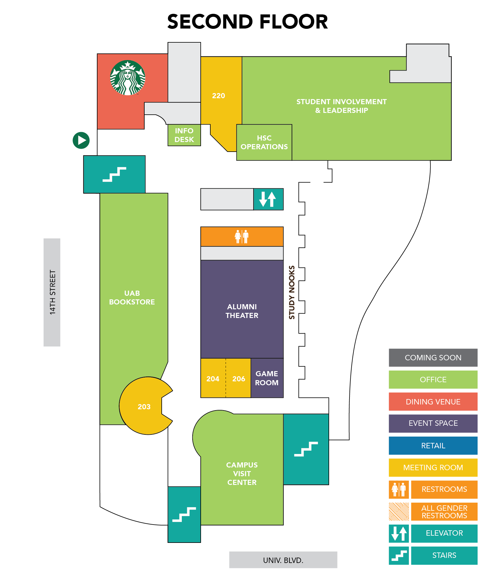 UAB - Student Affairs - Hill Student Center - Building Map
