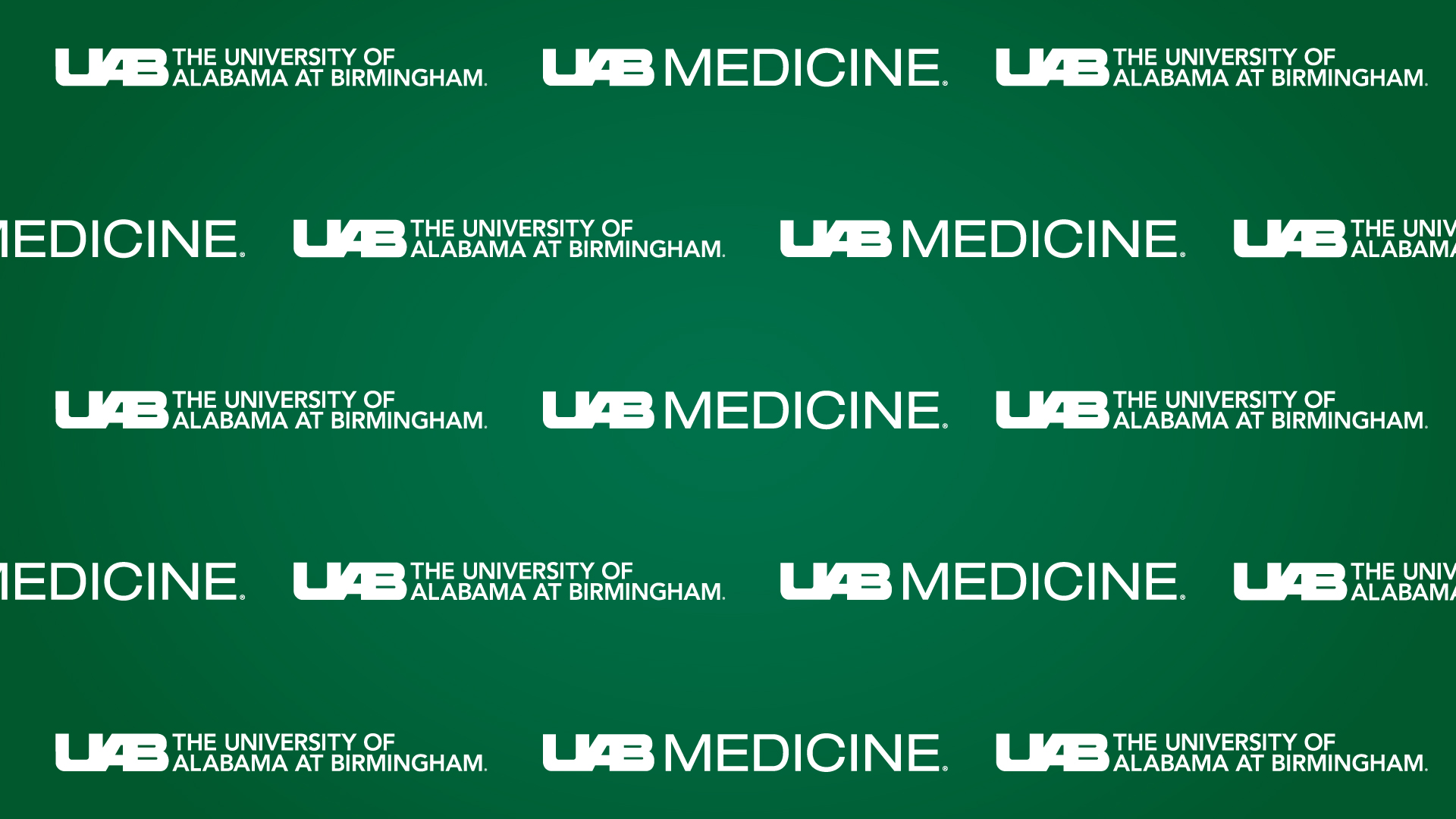 White UAB Medicine logo repeated on green backdrop.