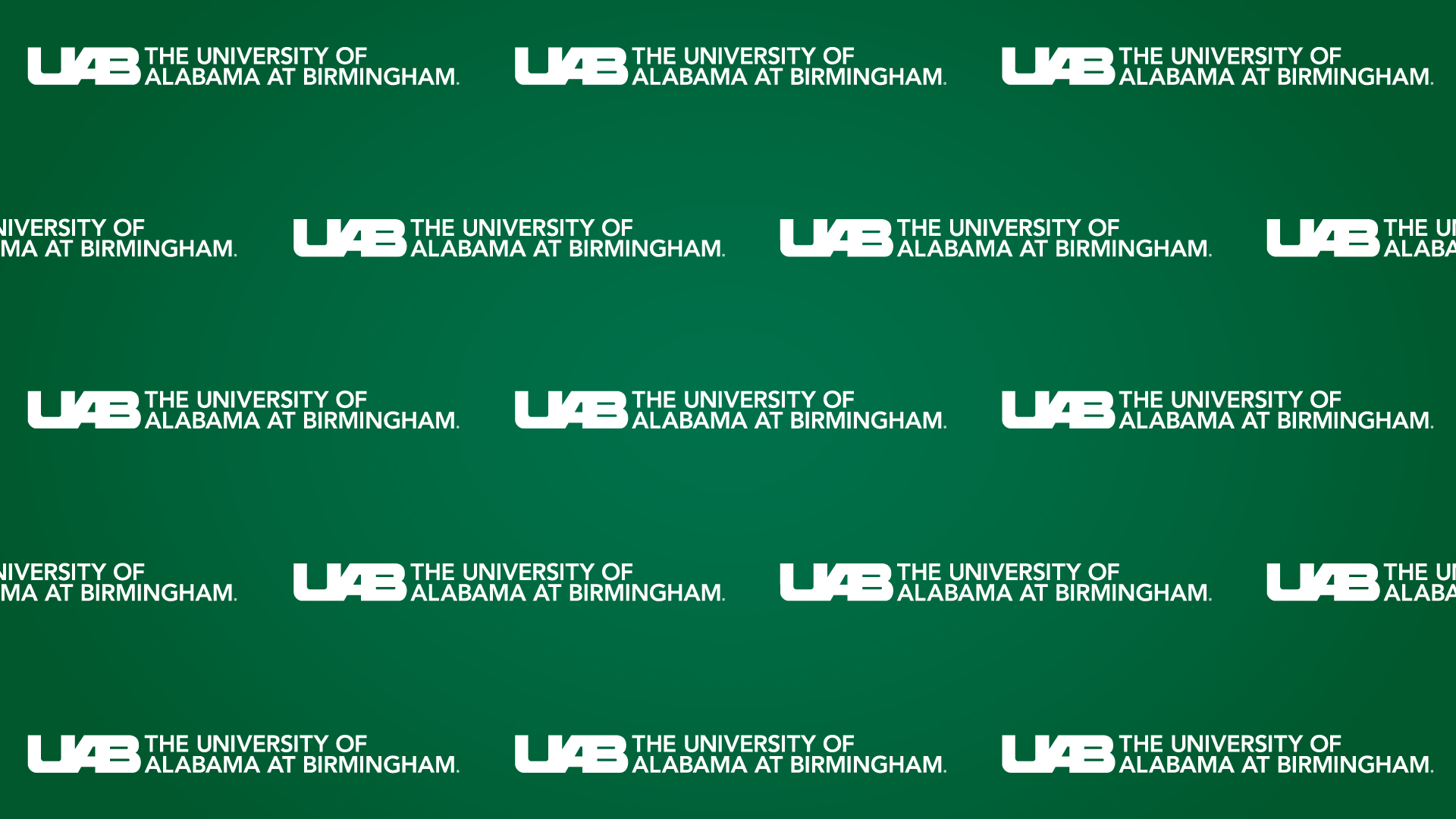 White UAB logo repeated on green backdrop.