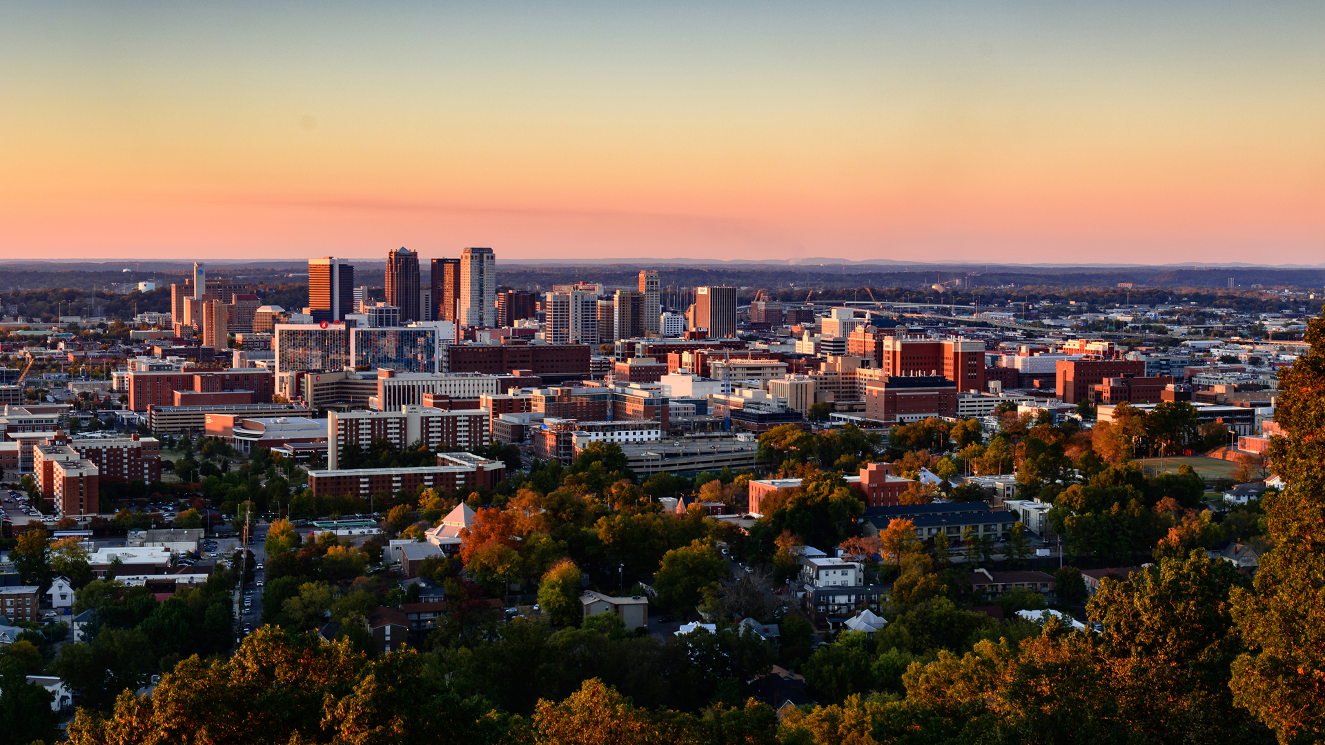 Birmingham skyline at sunset.