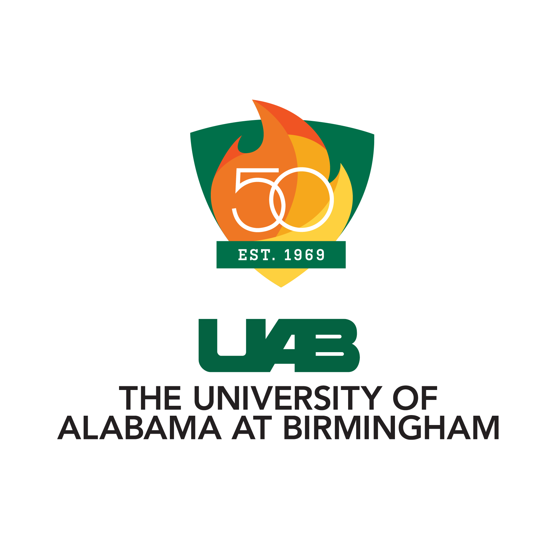 UAB 50th Logo - Shield Only - Color Outline
