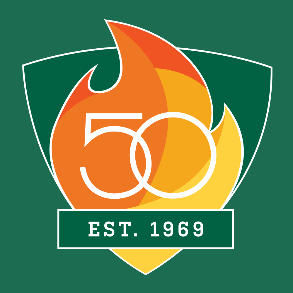 UAB 50th Logo - Shield with Est. 1969 - Color with White Outline Version