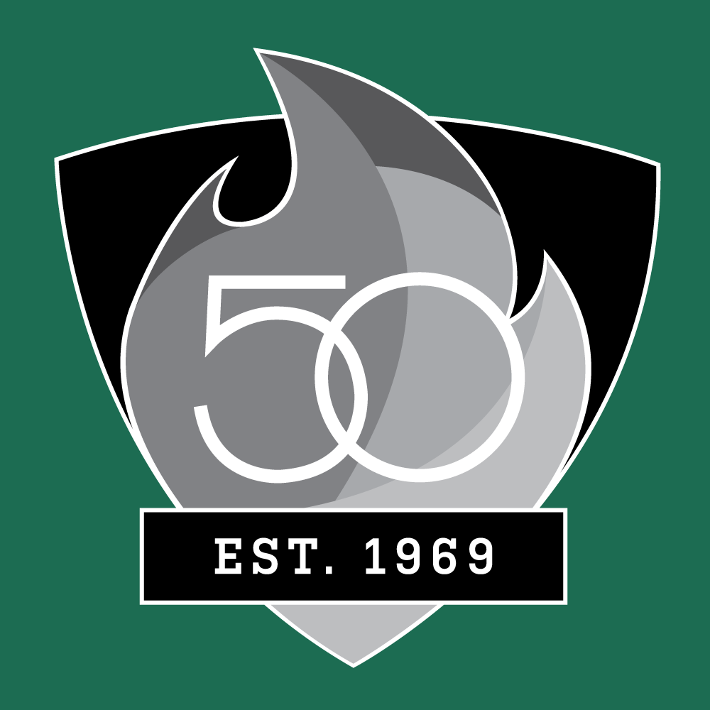 UAB 50th Logo - Shield with Est. 1969 - Greyscale with White Outline Version