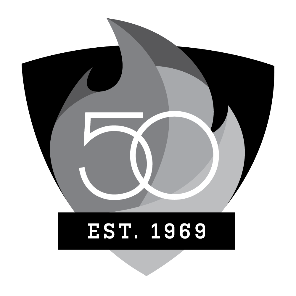 UAB 50th Logo - Shield with Est. 1969 - Greyscale Version