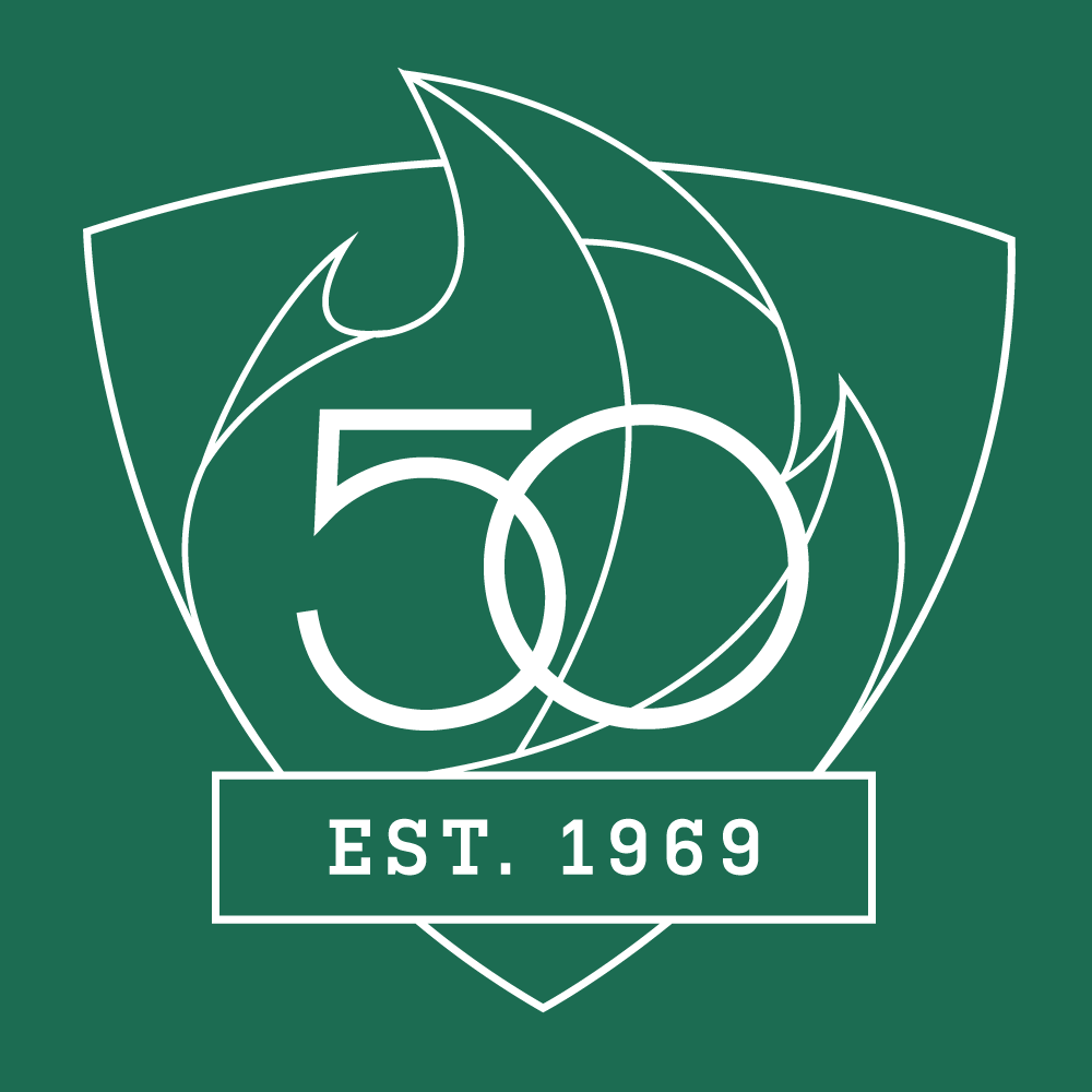 UAB 50th Logo - Shield with Est. 1969 - White Outline