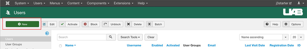 "Visual of the ""New"" icon on top toolbar to add a new user."
