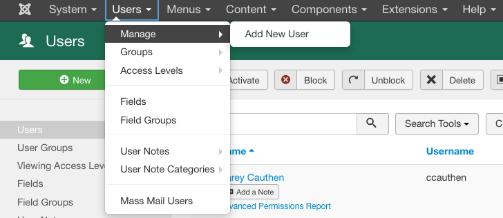 Visual of the dropdown menu of Users.Manage>Add New User prompt.