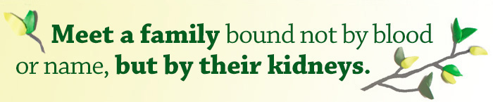 Quote: Meet a family bound not by blood or name, but by their kidneys
