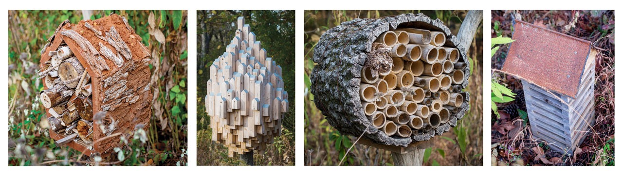 Photos of bee condominiums built by Woolley and UAB students