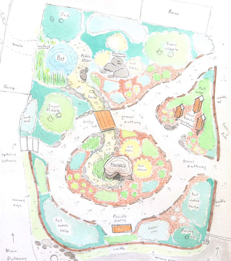 Illustrated garden plan designed by Jon Woolley