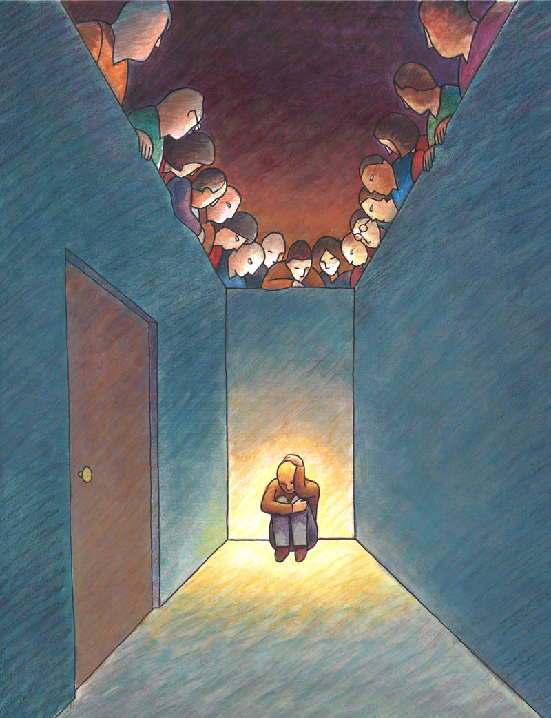 Illustration of man hiding in dead-end hallway with door while people watch him from above