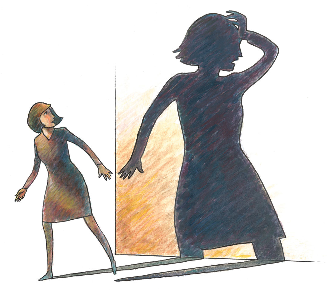 Illustration of woman frightened of her shadow