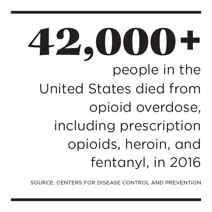 Fact box: 42,000+ people in the United States died from opioid overdose, including prescription opioids, heroin, and fentanyl, in 2016; source: Centers for Disease Control and Prevention