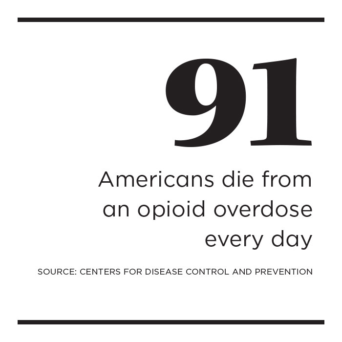Fact box: 91 Americans die from an opioid overdose every day; source: Centers for Disease Control and Prevention