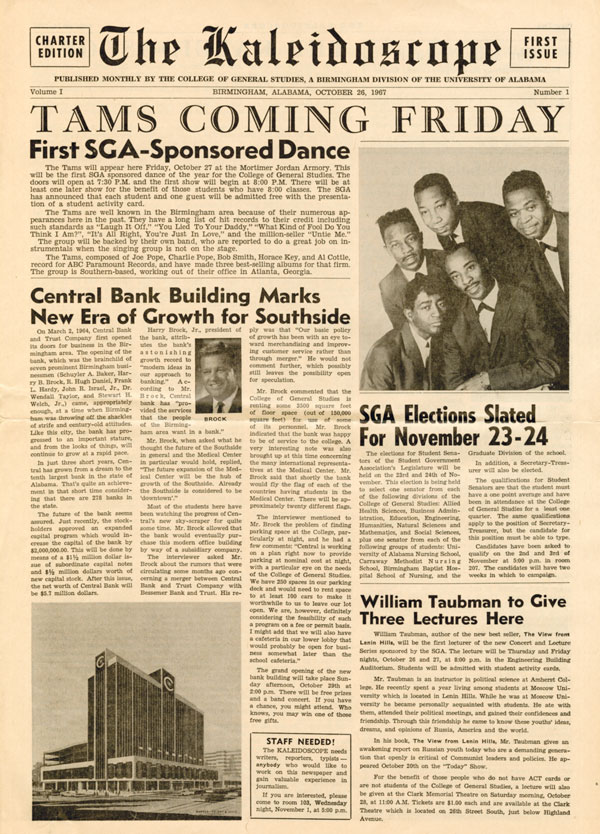 Photo of front page of first issue of the Kaleidoscope